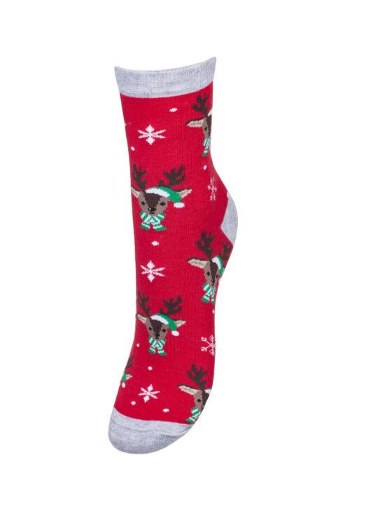 Kolorowe skarpetki damskie świąteczne czerwone z szarym wykończeniem w reniferki z zielono białym szalikiem i czapkom