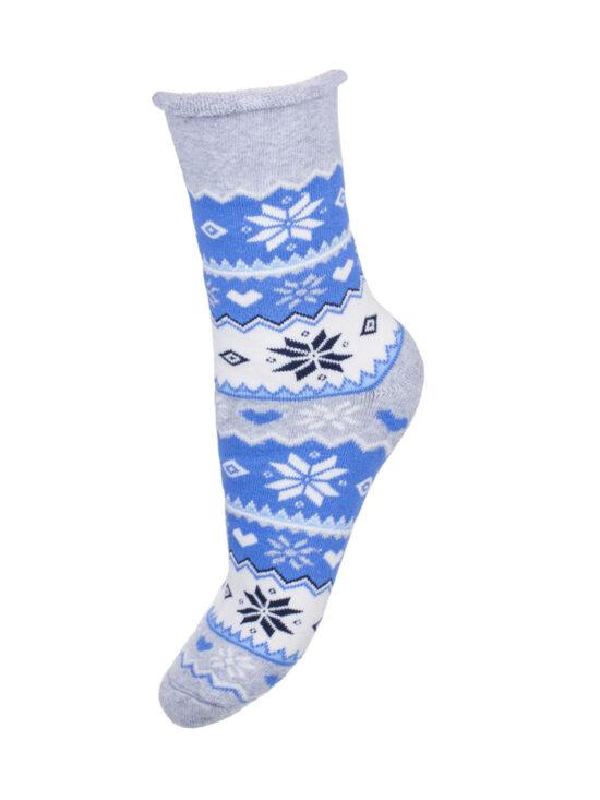 Kolorowe skarpetki damskie bezuciskowe frotte, norweskie na szarej podstawie z niebieskimi,czarnymi i białymi elementami