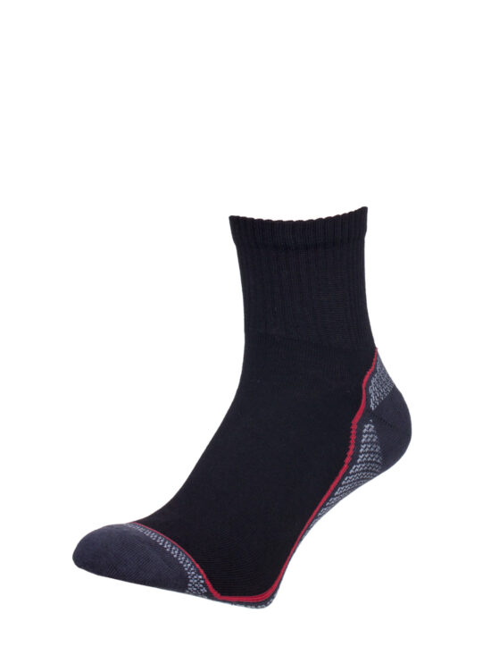 Sportowe skarpetki męskie czarne z garfitowym wykończeniem, z czerwonymi i białymi elementami
