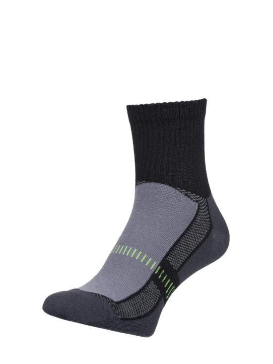 Skarpetki sportowe czarne z grafitowym spodem i zielonymi elementami