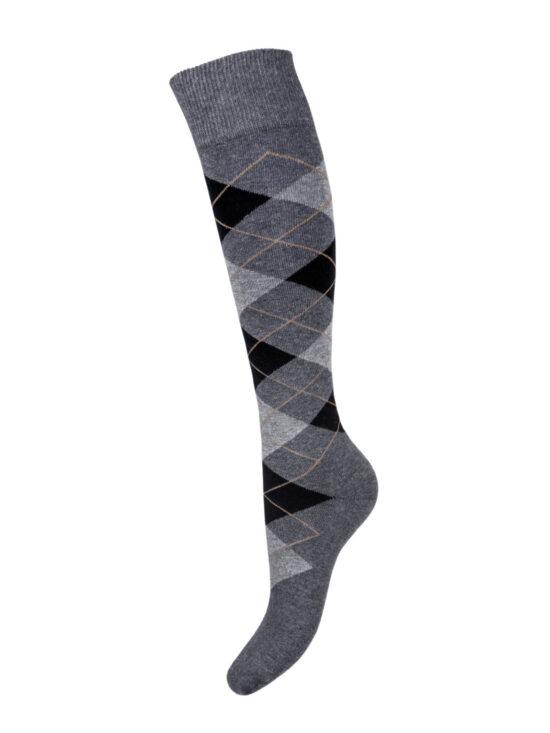 Podkolanówki damskie szare w szare i czarne romby z liniami